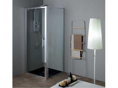 Box doccia angolare in cristallo con porta a battente FPB40 + FISSO | Box doccia angolare