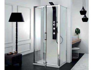 Box doccia centro stanza con porta a battente FPB40 + FISSO | Box doccia centro stanza
