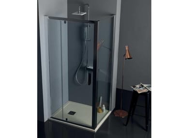 Box doccia angolare con porta a battente FPB40 + FISSO | Box doccia angolare