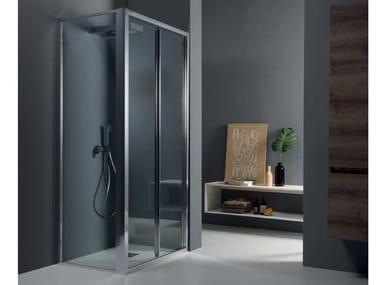 Box doccia angolare con porta a soffietto FPS30 + FISSO | Box doccia angolare