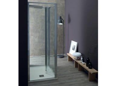 Box doccia centro stanza con porta a soffietto FPS30 + FISSO | Box doccia centro stanza