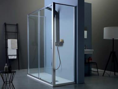 Box doccia centro stanza con porta scorrevole FPSC50 + FISSO | Box doccia centro stanza
