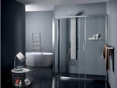 Box doccia in cristallo con porta scorrevole FPSC50 + FISSO | Box doccia angolare
