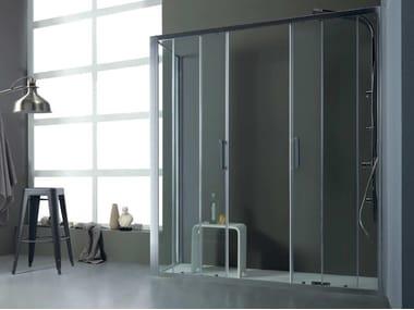 Box doccia angolare con porta scorrevole FPSC57 + FISSO | Box doccia angolare