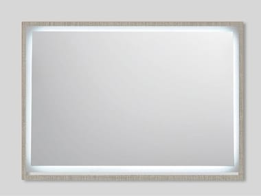Wall-mounted rectangular mirror with integrated lighting FRAME C