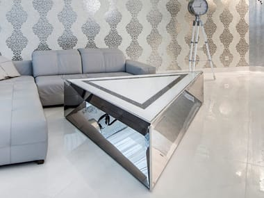 Triangular glass and steel coffee table FRAME | Triangular coffee table