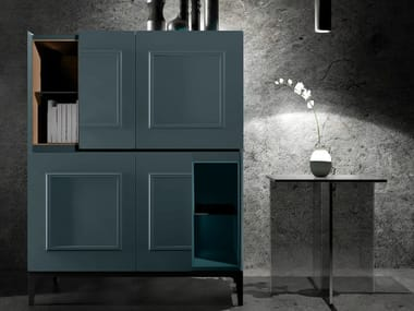 Lacquered highboard with doors FRAME UP | Lacquered highboard