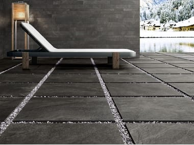Porcelain stoneware outdoor floor tiles with stone effect FRAME 20MM