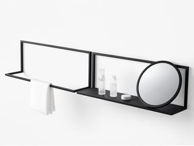 Wall-mounted mirror with shelf FRAME | Wall-mounted mirror
