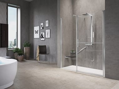 Niche shower cabin with hinged door and fixed panel in line FREE 1 G+F IN LINE