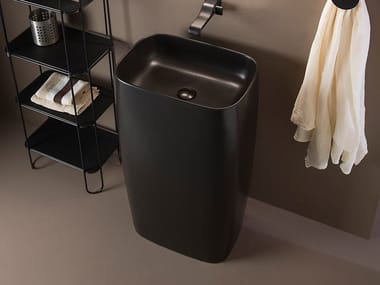 Freestanding ceramic washbasin MONOFLAG