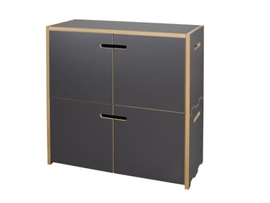 MDF office storage unit with hinged doors HOCHSTAPLER | Office storage unit