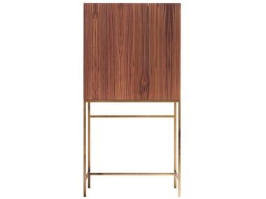 Walnut bar cabinet with tray FRIDA
