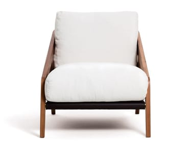 Walnut and fabric armchair with armrests FRISÈ | Armchair