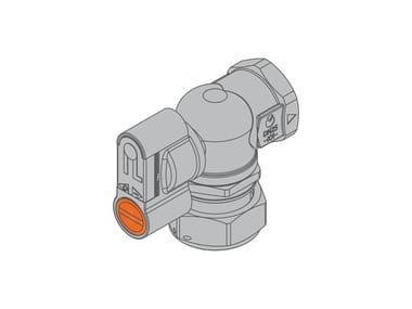 Valve with swivel nut for dual-pipe gas meter G2 PA 90° Front valve f/swivel nut