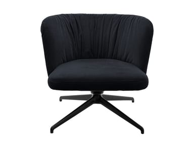 Swivel trestle-based easy chair with armrests GAIA LOUNGE CASUAL | Swivel easy chair