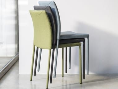 Upholstered fabric chair GAIA | Stackable chair