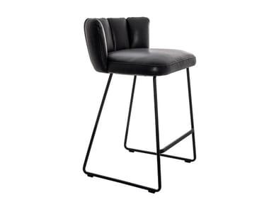 Upholstered sled base counter stool GAIA | Stool with back