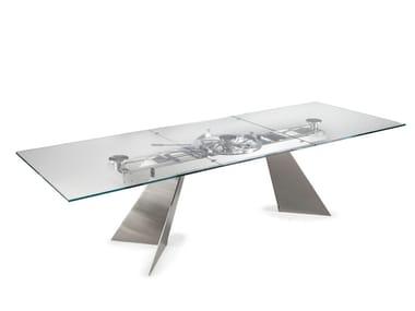 Tavolo allungabile da pranzo rettangolare in cristallo GALAX | Tavolo in cristallo