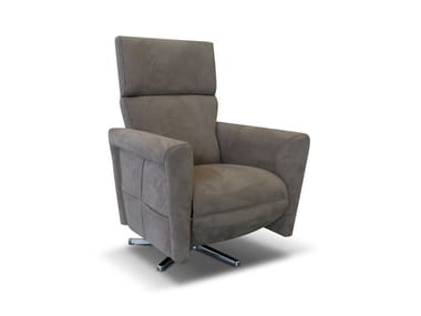 Recliner leather armchair with armrests GALILEO