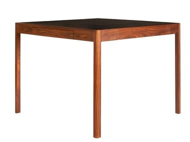 Square solid wood game table with leather top LEATHER DESK | Game table