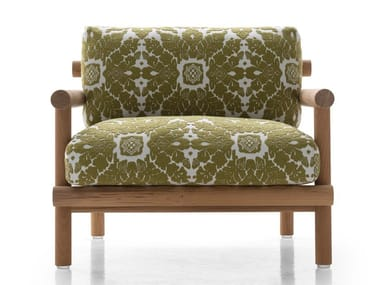 Fabric garden armchair with armrests AYANA | Garden armchair