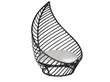 High-back aluminium garden armchair FOGLIA   Garden armchair
