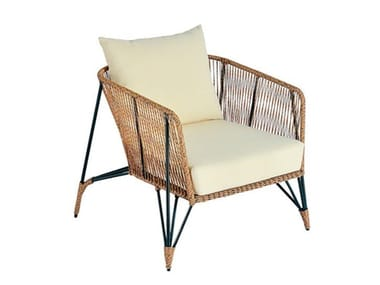 Synthetic fibre garden armchair with armrests LODZ | Garden armchair