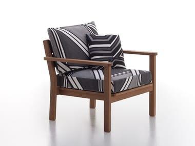 Iroko garden armchair with armrests CAPRI | Garden armchair