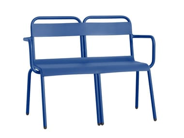 Powder coated aluminium garden bench with armrests BIARRITZ | Garden bench