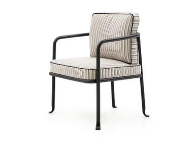Chaise de jardin rembourrée en tissu avec accoudoirs BOREA | Chaise de jardin