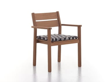 Iroko garden chair with armrests CAPRI | Garden chair