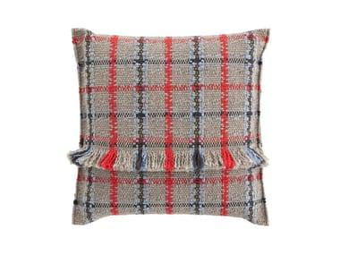 Square tartan outdoor polypropylene cushion GARDEN LAYERS BLUE | Square cushion