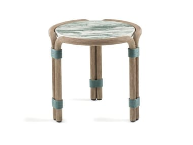 Round coffee table with marble and cement top ROTIN | Garden side table