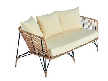 2 seater synthetic fibre garden sofa LODZ   Garden sofa