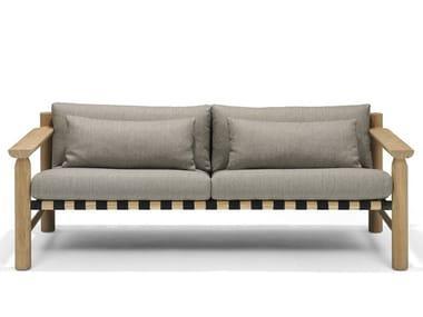 Teak garden sofa with removable cover HIDDE | Garden sofa