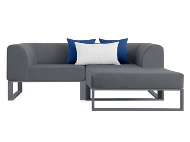 2 seater fabric garden sofa with chaise longue PLOID | Garden sofa with chaise longue