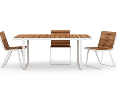 Rectangular aluminium and wood garden table MAKEMAKE | Garden table