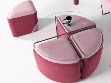 Upholstered fabric pouf GEMMA | Upholstered pouf