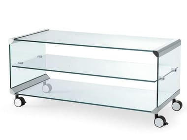 Tempered glass high side table with casters GEORGE 1