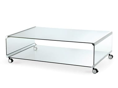 Crystal coffee table with castors GEORGE 2