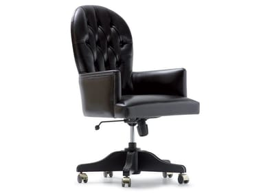 Leather executive chair with castors GEORGES | Executive chair