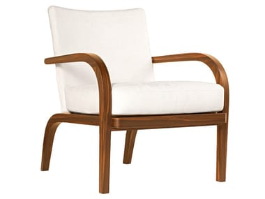 Fabric easy chair with armrests GINEVRA