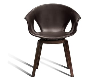 Leather chair with armrests GINGER | Leather chair