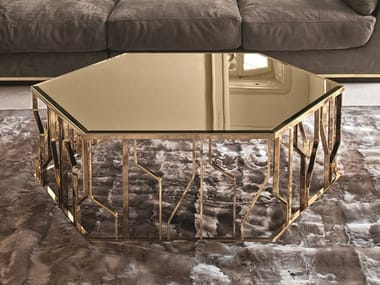 Hexagonal Mirrored Gl Coffee Table Ginza