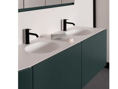 Double round Solid Surface washbasin with integrated countertop GIRO | Double washbasin