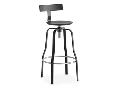 High steel and wood stool with back GIRO | Stool with back