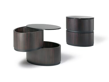 Lacquered oval wooden bedside table with drawers GIULIETTA - ROMEO | Bedside table