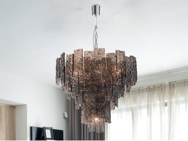 Lampada a sospensione in vetro di Murano GLACE 4115