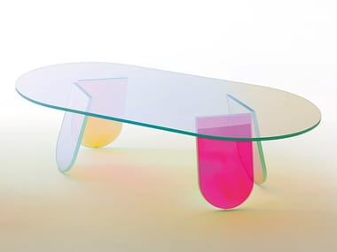 Low oval crystal coffee table GLAS ITALIA - SHIMMER Coffee table